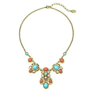 Ben-Amun Women's Santorini Gold Turquoise Pearl Crystal Drop Station Necklace Ccc3Q09