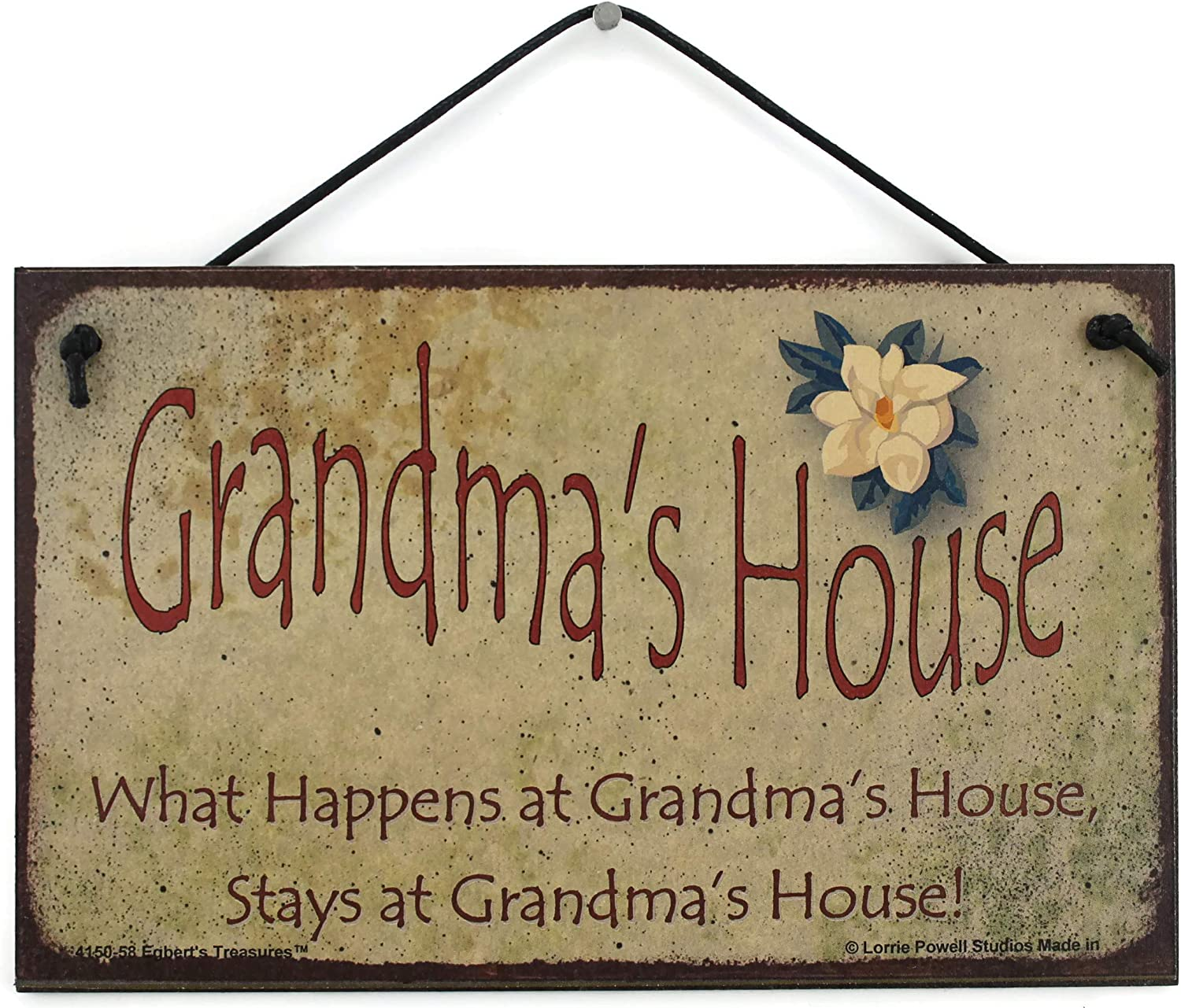 5x8 Vintage Style Sign with Magnolia Flower Saying,
