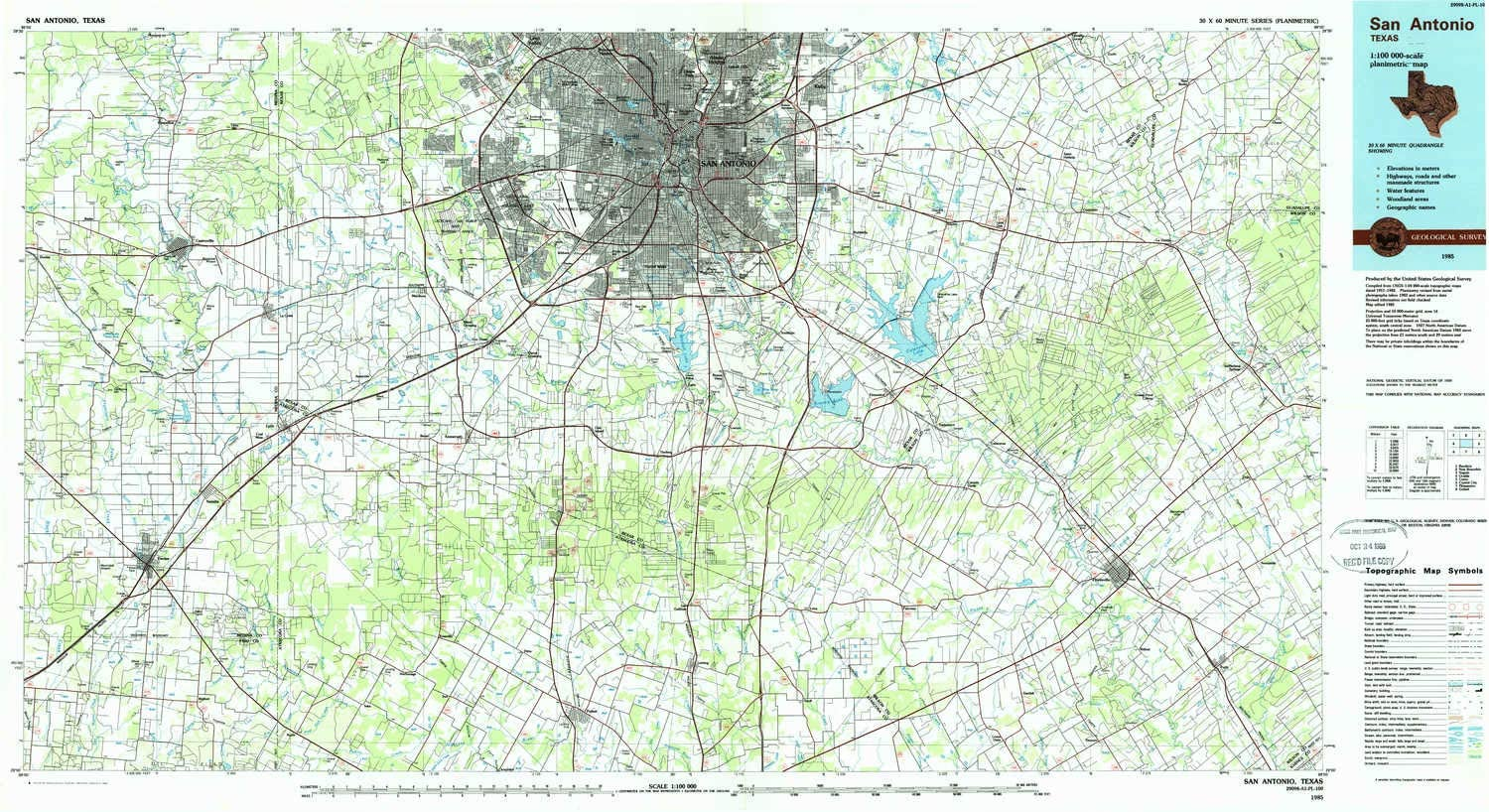 amazon com yellowmaps san antonio tx topo map 1 100000 scale 30 x 60 minute historical 1985 updated 1985 24 1 x 44 in paper sports outdoors amazon com