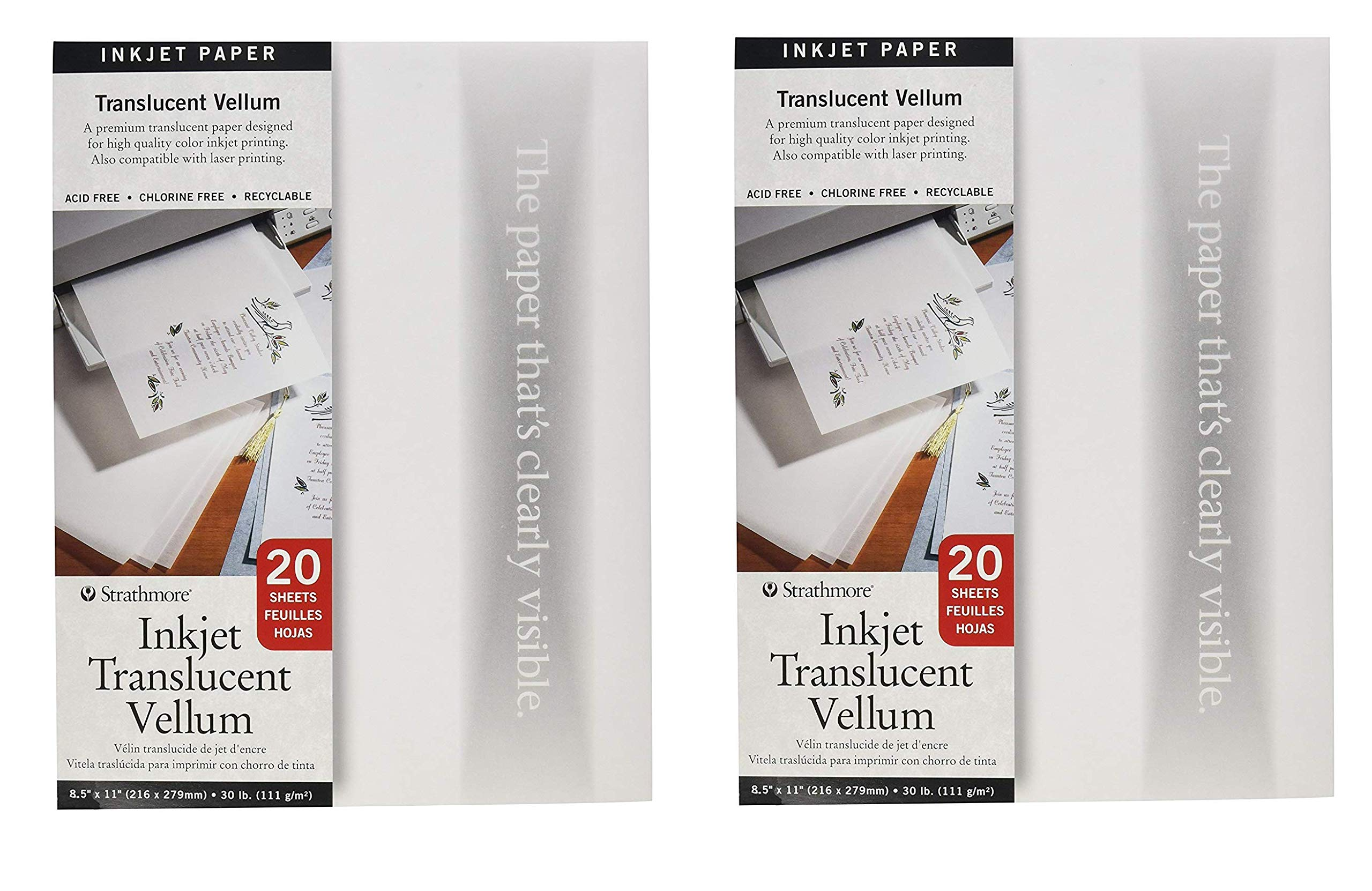 Strathmore 59-803 Translucent Vellum Inkjet Paper, 8.5''x11'', 20 Sheets (2-Pack) by Strathmore