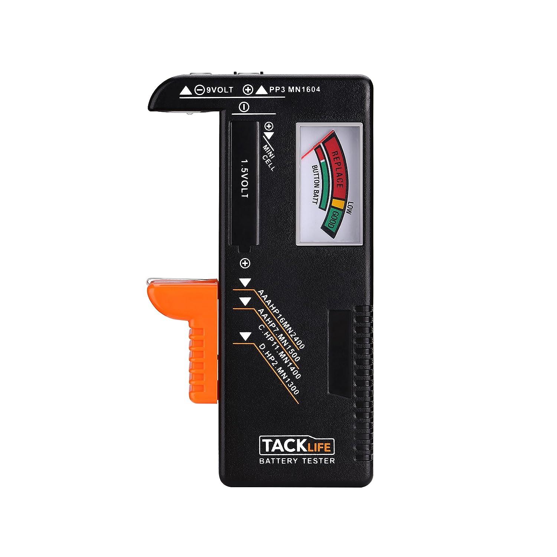 Tacklife MBT01 Testeur de piles classique pour AAA, AA, C, D, 1.5 V, 9 V et autres types de piles, idé al pour usage domestique 1.5V 9V et autres types de piles idéal pour usage domestique
