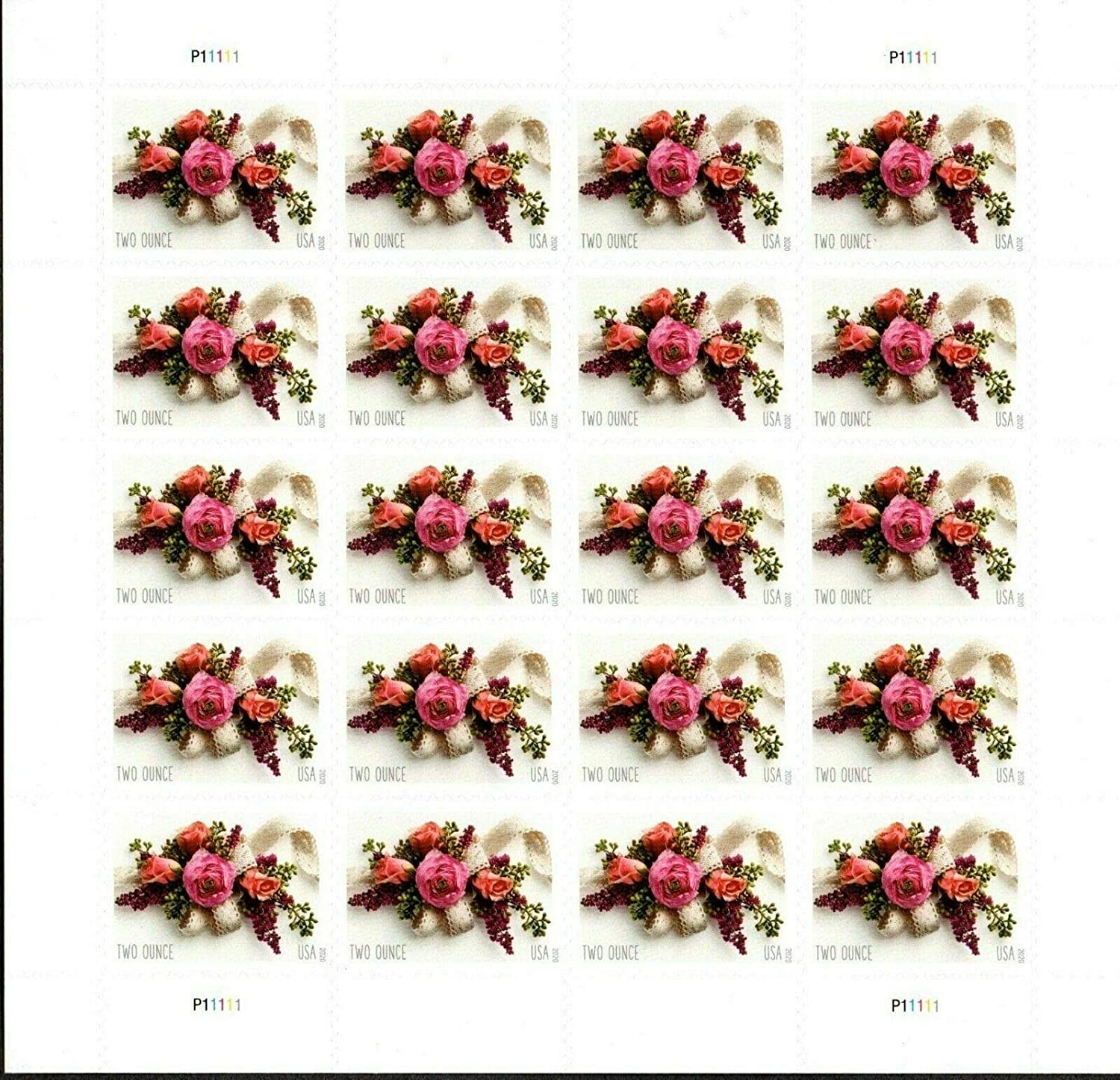 Garden Corsage Wedding Invitations Mint Sheet of 20 Two Ounce Rate Postage Stamps Scott 5458