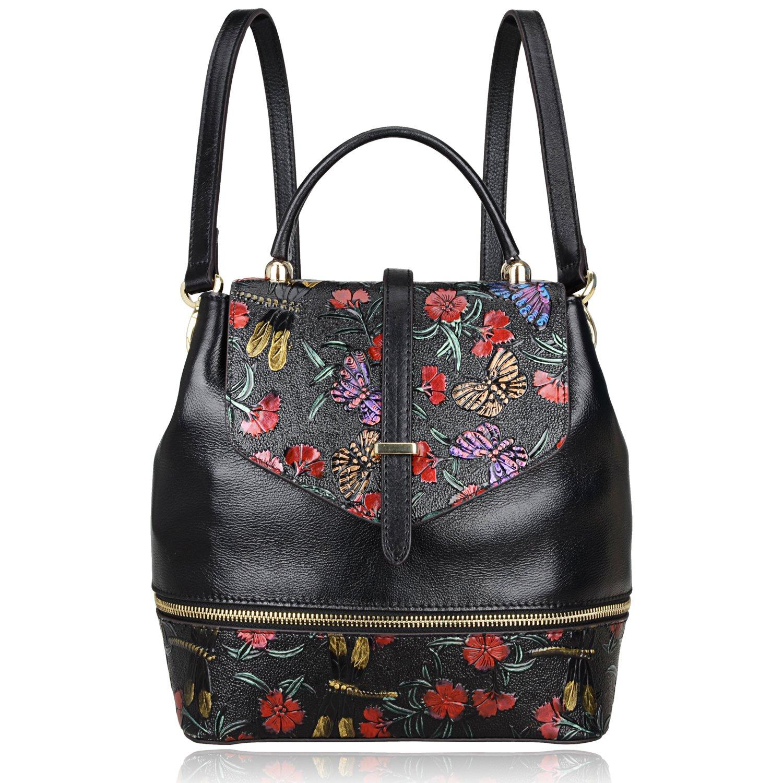 PIJUSHI Designer Women's Backpacks Floral Leather Mini Backpack Handbags (65363, Black) by PIJUSHI