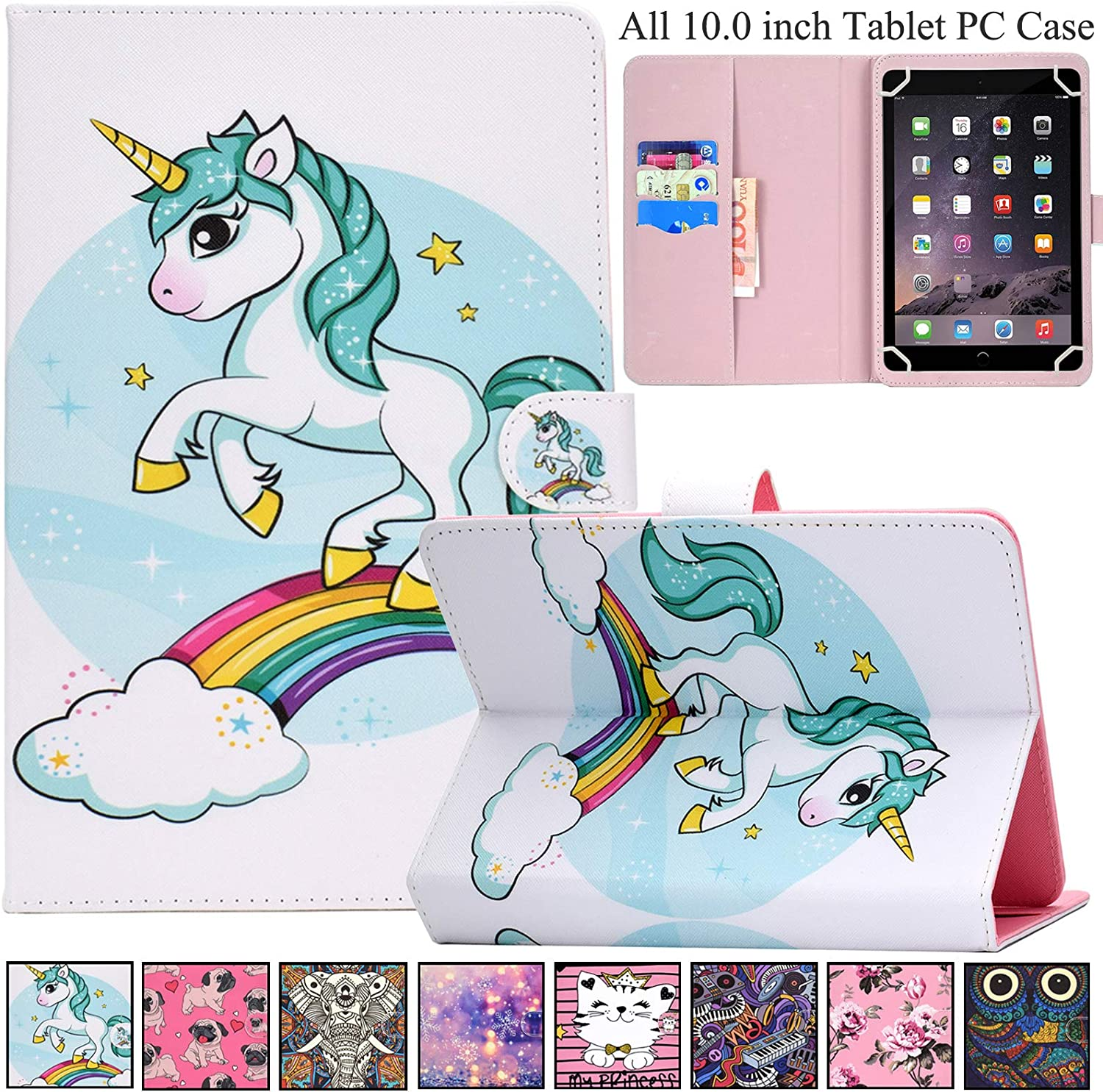 Universal Case for 9.0-10.5 inch Tablet,REASUN Slim Folio PU Leather Card Slot Wallet Shell for Apple/Samsung/Kindle/Huawei/Lenovo/Android/Dragon Touch 9.7 9.6 10.1 10.5 Inch Tablet (White Unicorn)