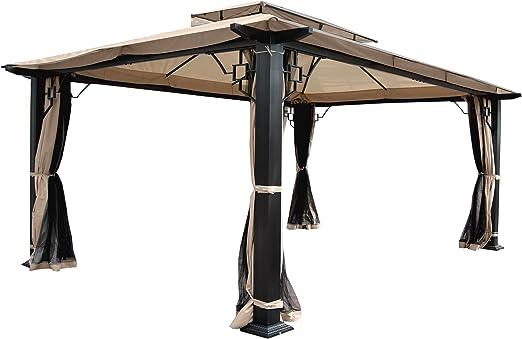 Mendler Pergola Mira - Cenador de jardín (12 cm, estructura de aluminio con pared lateral + mosquitera, 4, 5 x 3, 5 m): Amazon.es: Jardín