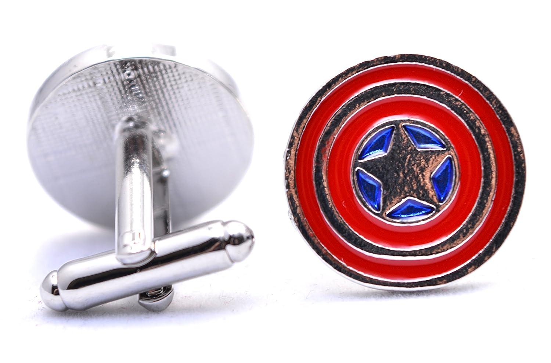 Manschettenknöpfe Marvel Captain America Shield Star Avengers Superheld Men's Fashion Jewelry Manschettenknöpfe Shirt Geschenk Party Hochzeit Beaux Bijoux LE