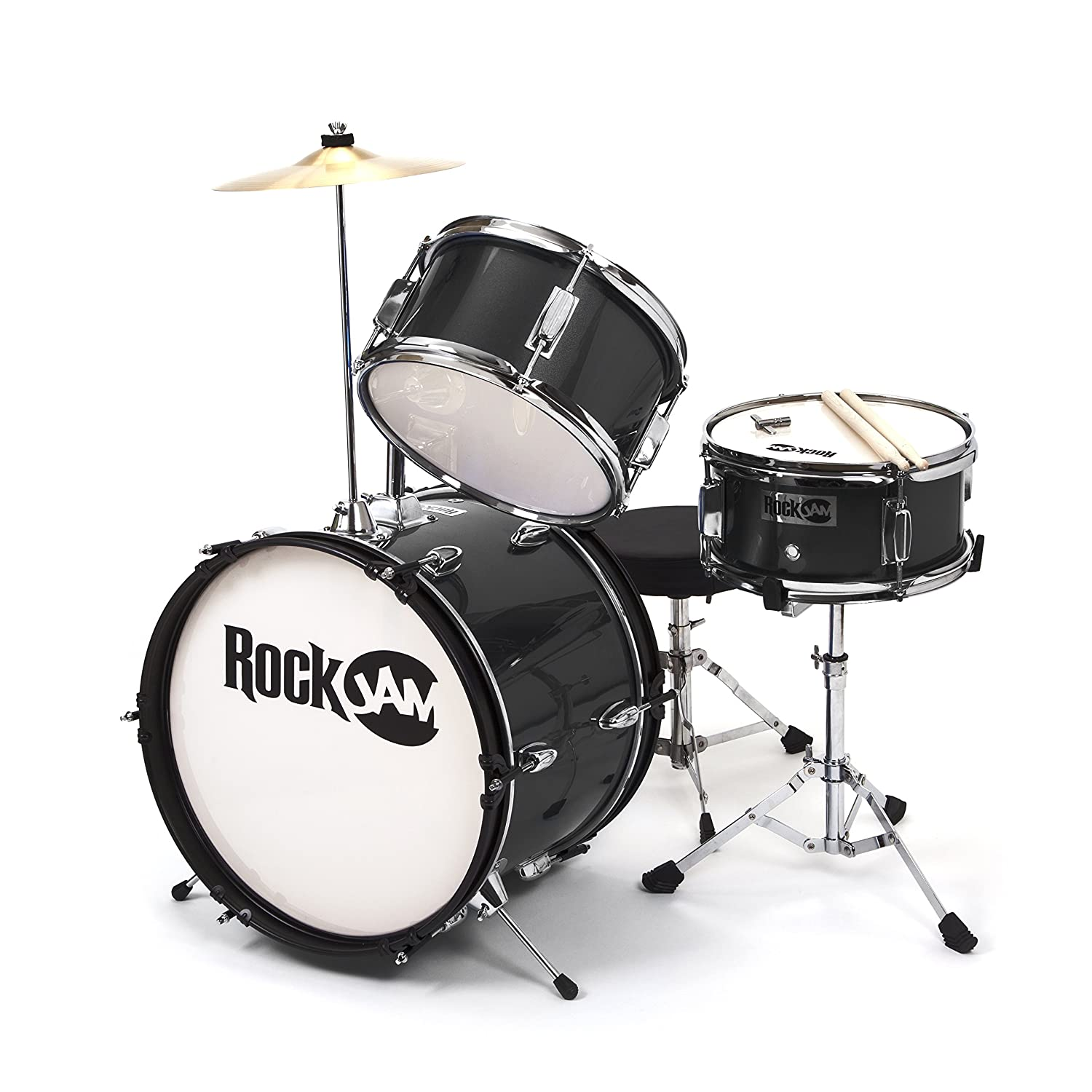RockJam RJ103-MB 3-Piece Junior Drum Set with Crash Cymbal, Adjustable Throne & Accessories, Metallic Blue PDT Ltd - IMPORT (UK Vendor Product FOB China)