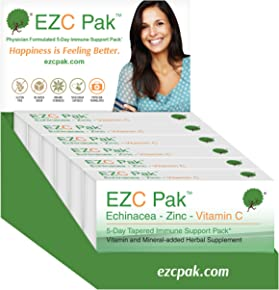 EZC Pak 5 Day Immune Support Boost For Cold and Flu - 6 Pack - Echinacea, Zinc and Vitamin C, Physician Designed 5 Day Tapered Pack