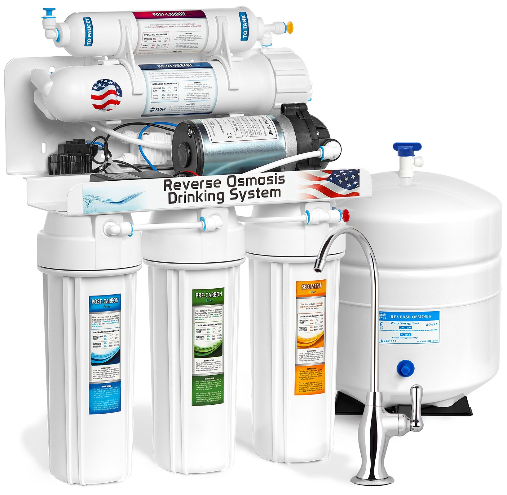 Express Water RO10DPU 5 Stage Reverse Osmosis Drinking Water Undersink Filtration System Plus RO Booster Pump - 100 GPD Membrane Capacity, White