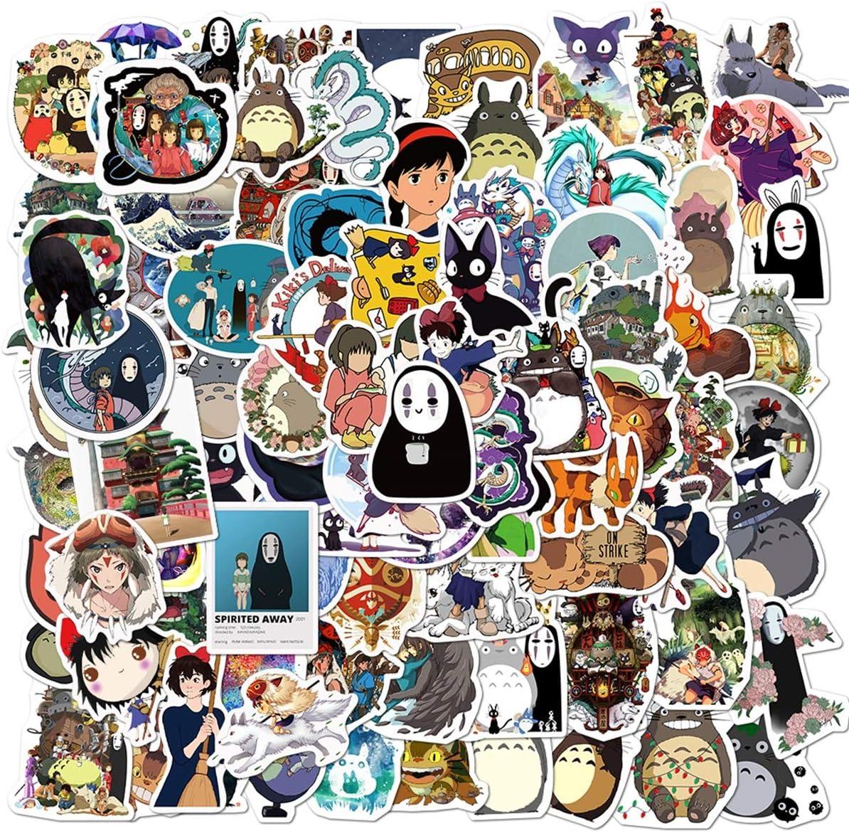 Miyazaki Hayao Stickers 100PCS My Neighbor Totoro Spirited Away Studio Ghibli Stickers Japanese Animation Anime Stickers Waterproof Vinyl Decals for Laptop, Water Bottles, Skateboard, Luggage, Phone