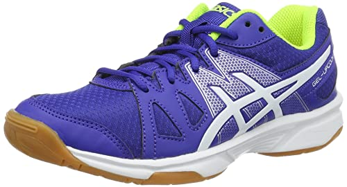 Asics Gel-Upcourt GS, Zapatillas de Bádminton para Niños, (Blue/White/Safety Yellow), 32.5 EU: Amazon.es: Zapatos y complementos
