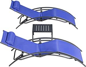 PURPLE LEAF Patio Chaise Lounge Sets 3 Pieces Outdoor Lounge Chair Sunbathing Chair with Headrest and Table for All Weather, Royal Blue
