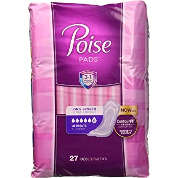 Poise Incontinence Overnight Pads, Ultimate Absorbency, Long, 27 Count by Poise