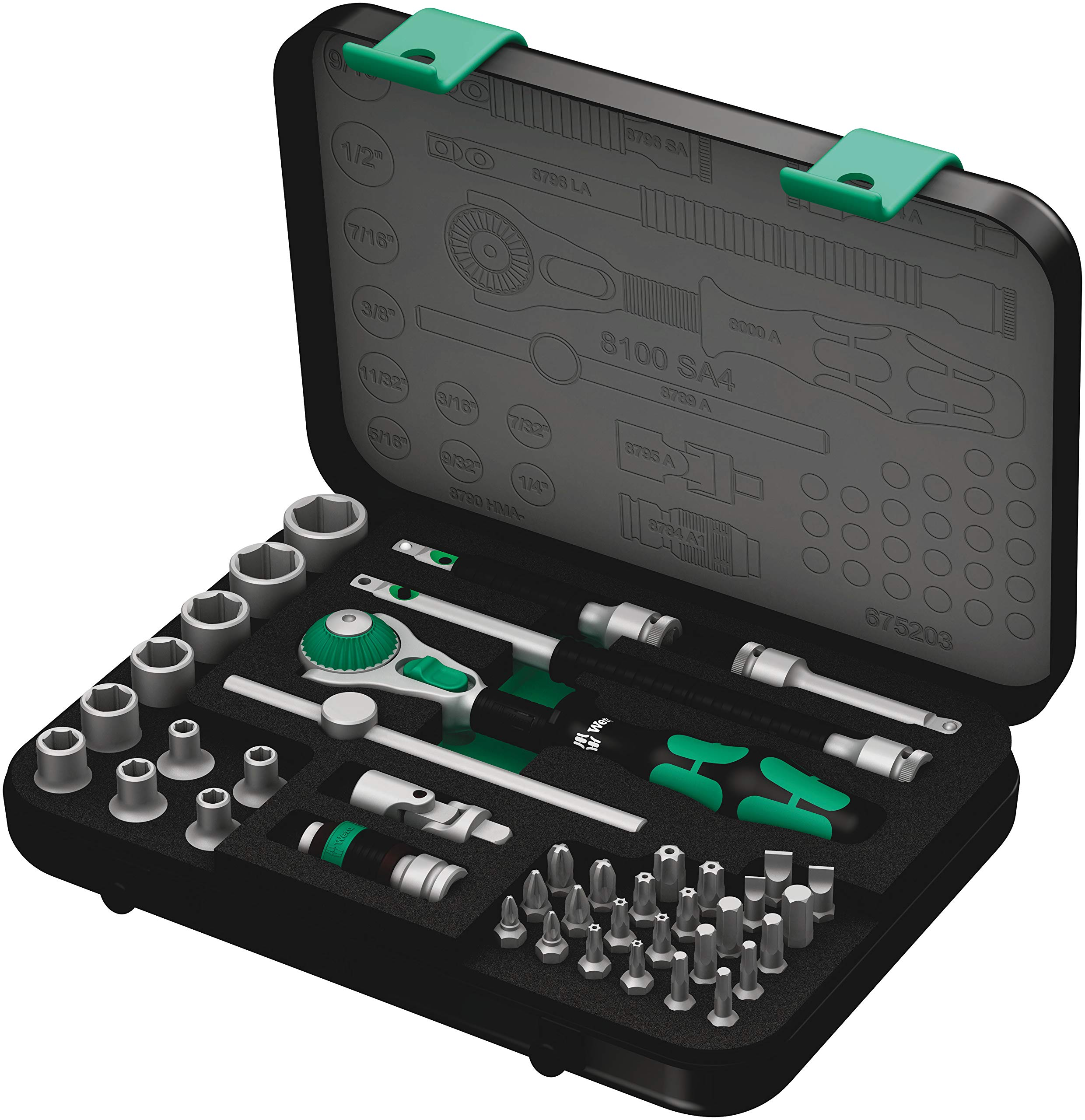 Wera 8100 SA 4 Zyklop Ratchet Set with 1/4'' Drive, 41-Piece Set