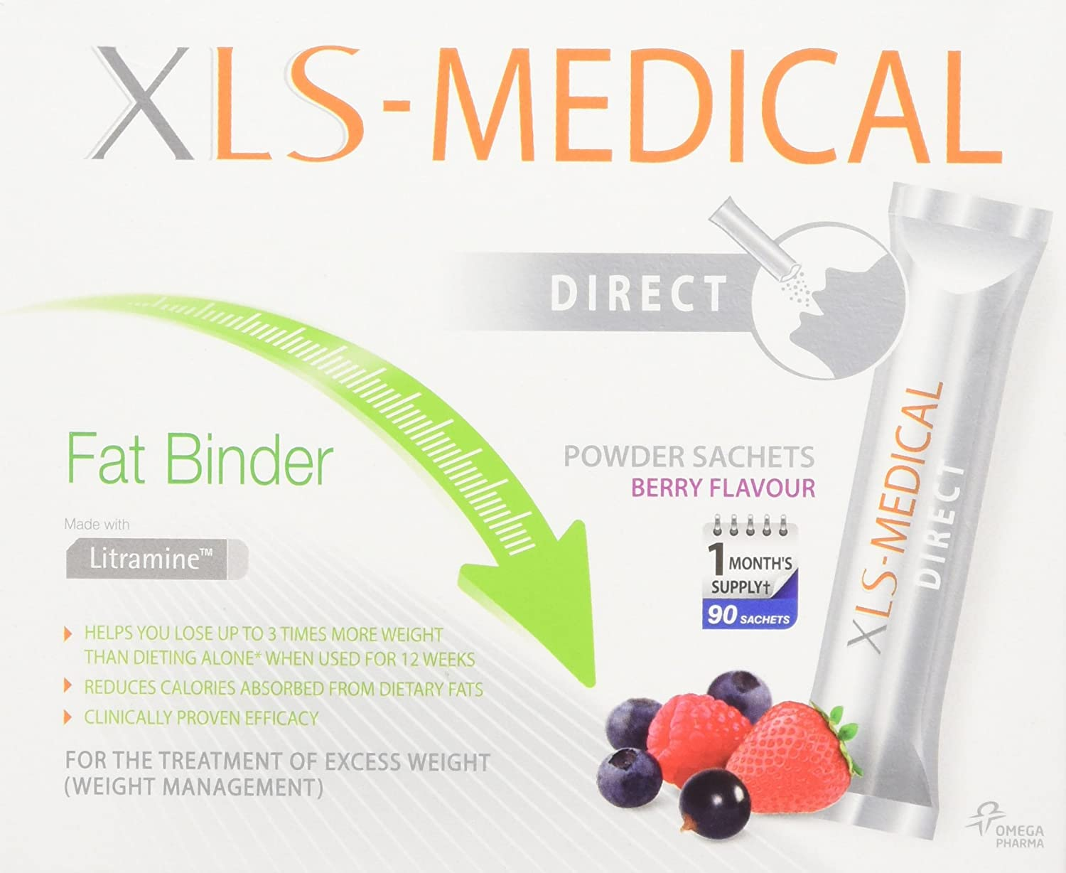 Xls Medical Berry Flavour Fat Binder Direct Weight Loss Aid 1 Month Supply Pack 90 Sachets