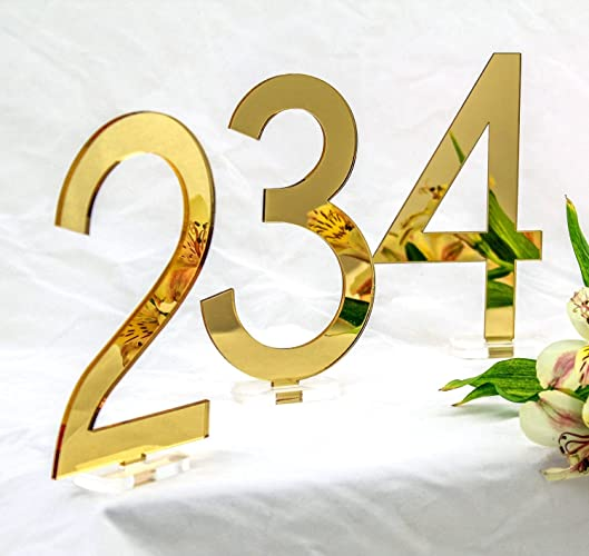 Gold Mirrored Acrylic Table Numbers Set Of 1 10 Modern Style 5 3
