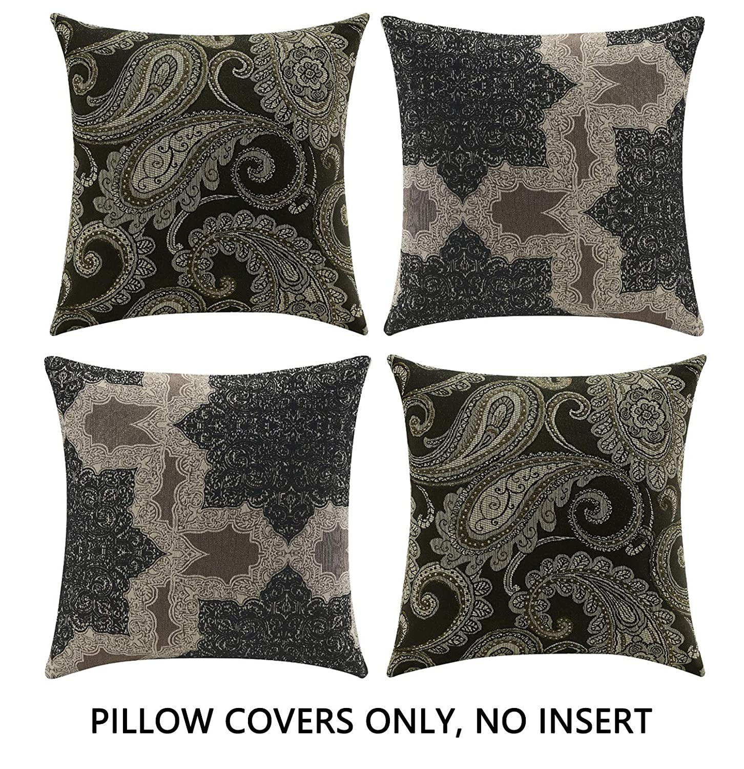 Comfortland Decorative Throw Pillow Covers Vintage Floral Leaves Square Pillow Case Home Decor Cushion Covers for Couch/Sofa/Bedroom/Livingroom 20 x 20 inch Set of 4,Black and Tan