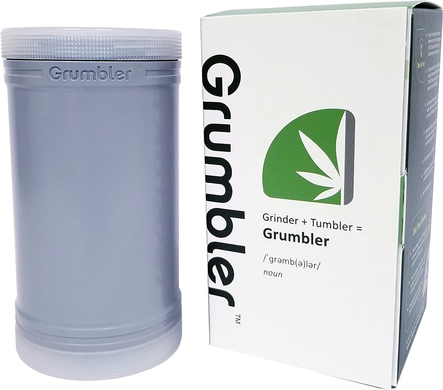 MyGrumbler.com Grumbler - Medical Herb and Accessory Storage Case w/Detachable Grinder, Pre-Roll Protector, Grinds Funnel. Smell Proof, Food Safe, Child Resistant (Executive Grey)