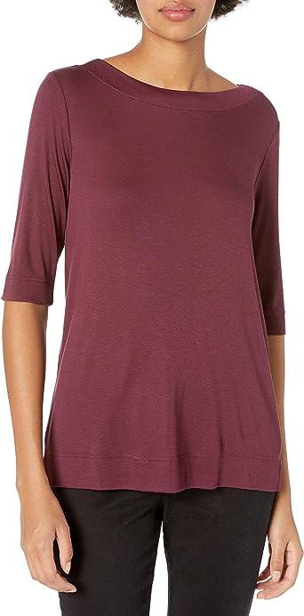 Amazon Brand - Daily Ritual Women's Fluid Knit Elbow-Sleeve Boat Neck Shirt