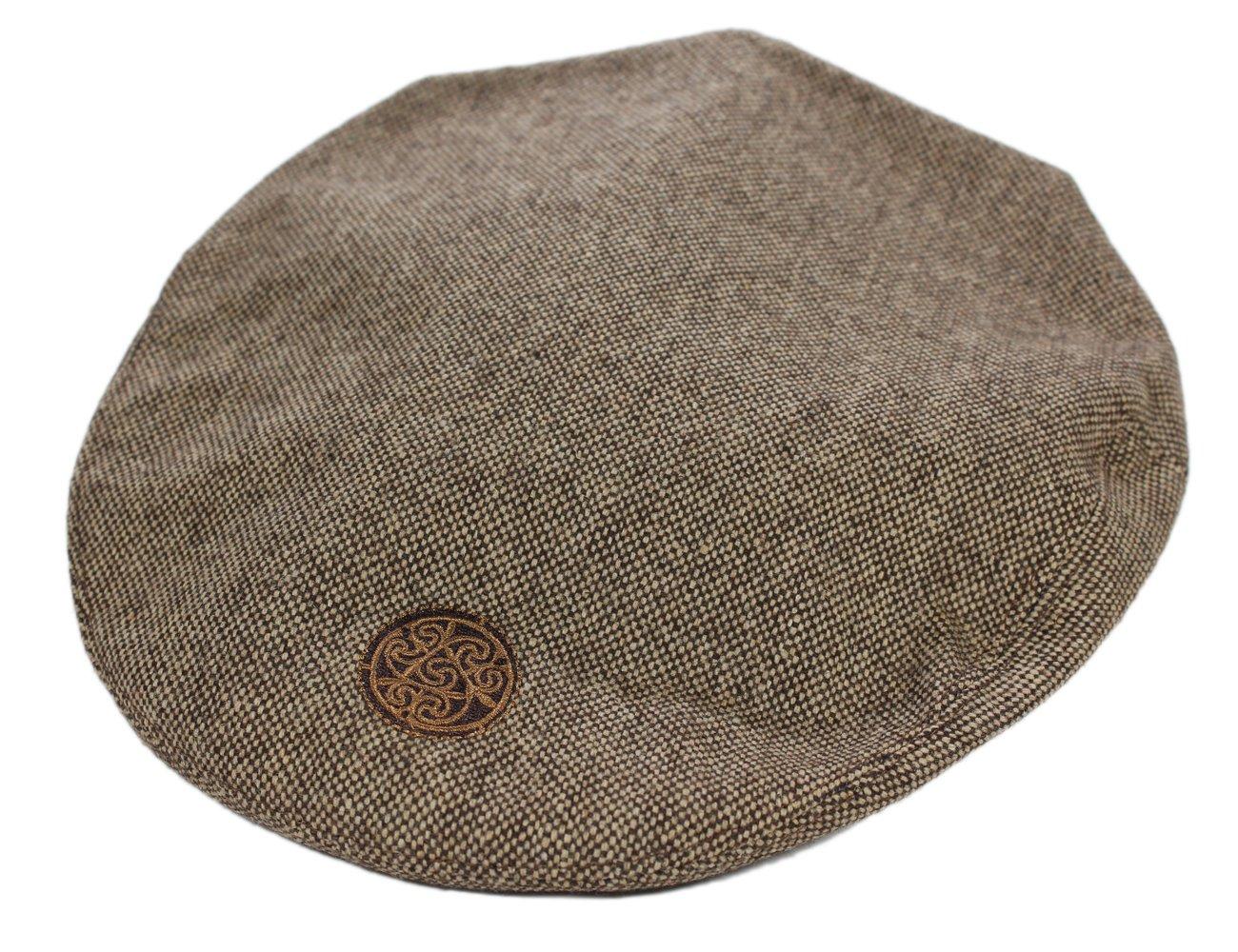 Patchwork Tweed Flat Cap Celtic Knot Badge Patrick Francis