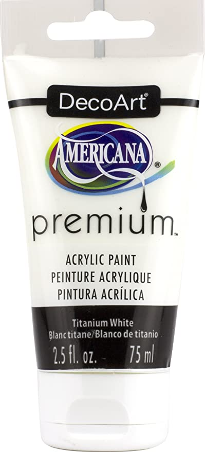 DecoArt Titanium White Americana Premium Acrylic Paint Tube 2.5oz