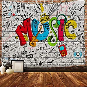 Simsant Music Wall Tapestry Hip Street Graffiti Tapestry Art Colourful Design Tapestries 80x60inches for Hip Hop Gathering Place College Dorm Room Bedroom Wall Decor GTLLSI21