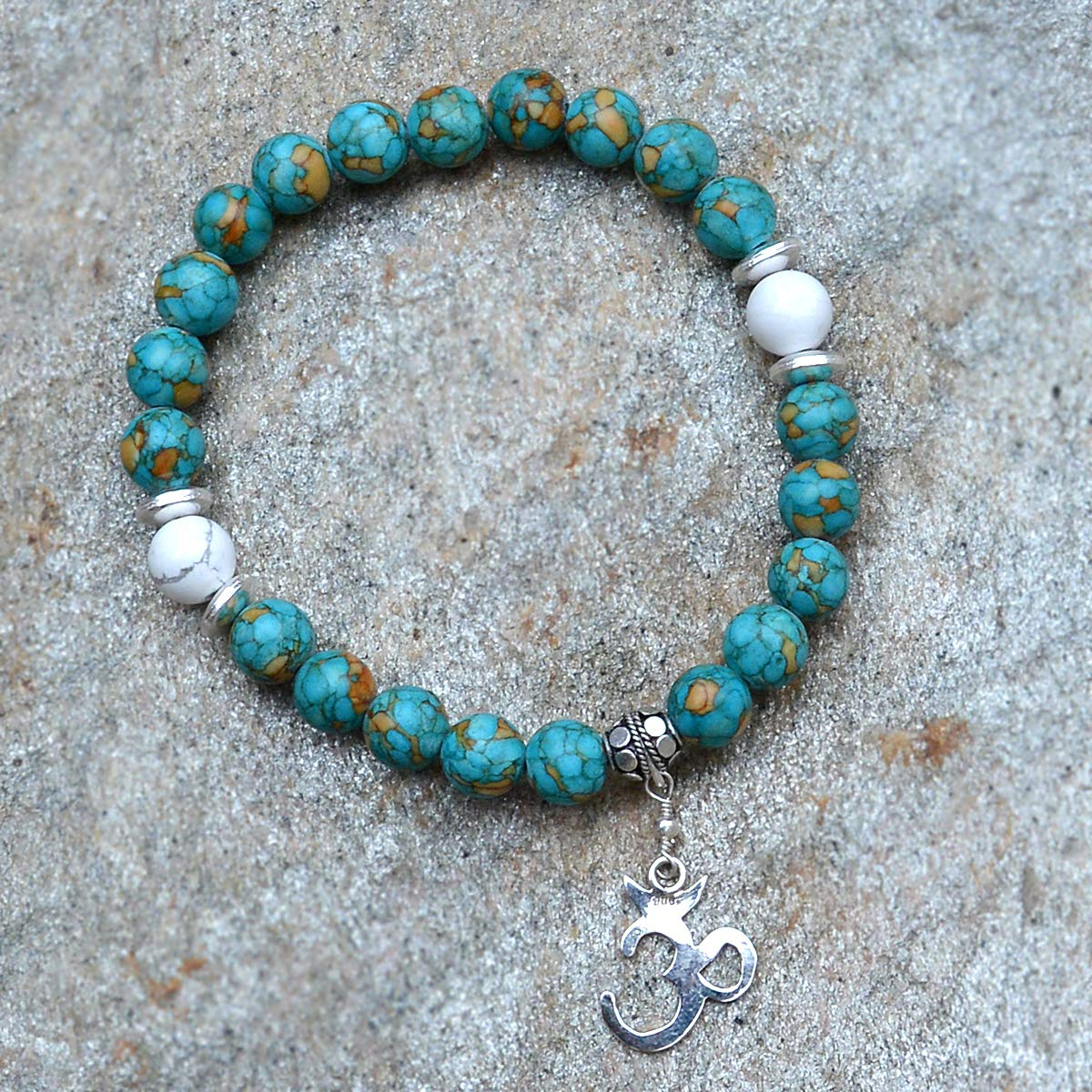Saamarth Impex Turquoise /& Howlite 925 Sterling Silver Gemstone Stretchable Charm Bracelet PG-156018