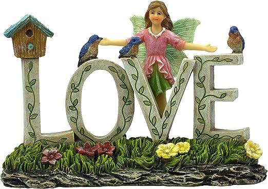 Suministros para jardín de hadas PRETMANNS, un colorido adorno de jardín de hadas decorado con un hada, pájaros azules y una jaula de pájaros, 1 pieza: Amazon.es: Jardín