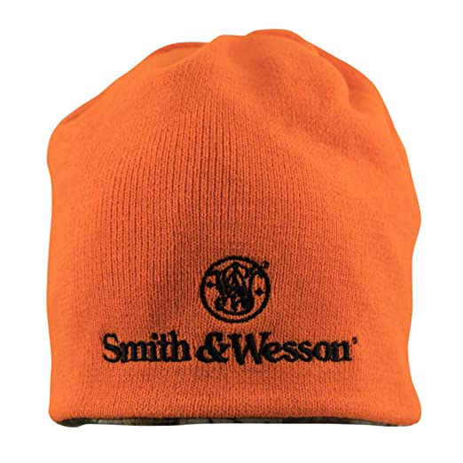 07c4c1dfe Smith & Wesson S&W Mens Reversible Blaze Orange Camo Beanie with  Embroidered Stacked Logo - Officially Licensed