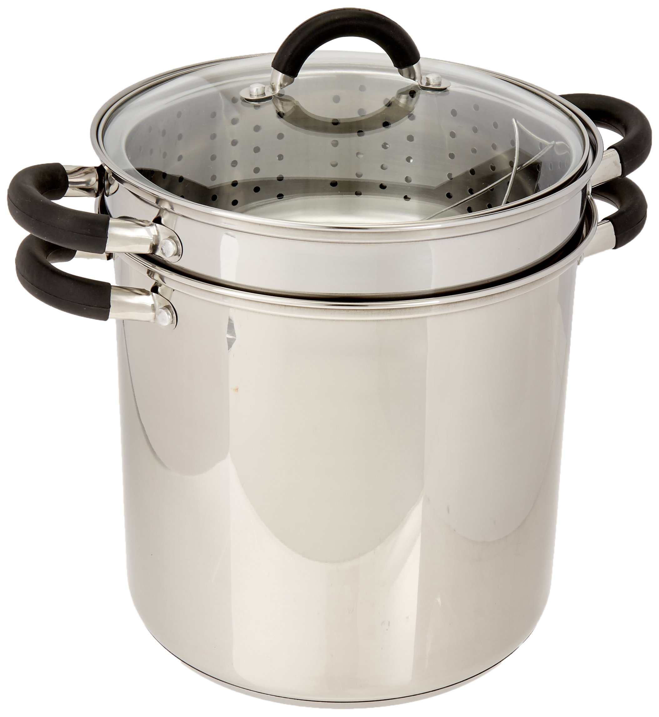 ExcelSteel 12 Qt Multifunction Stainless Steel Pasta Cooker with Encapsulated Base, Vented Glass Lid, and Riveted Silicone Covered Handles by ExcelSteel (Image #1)
