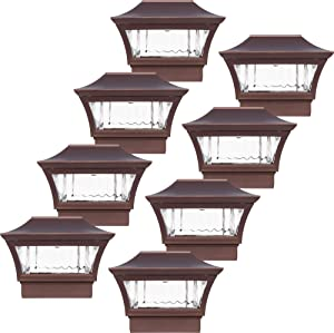 GreenLighting 8 Pack Tokyo #4 Aluminum 4 x 4 Solar Post Cap Light - LED for Wood or PVC Posts (Golden Bronze)