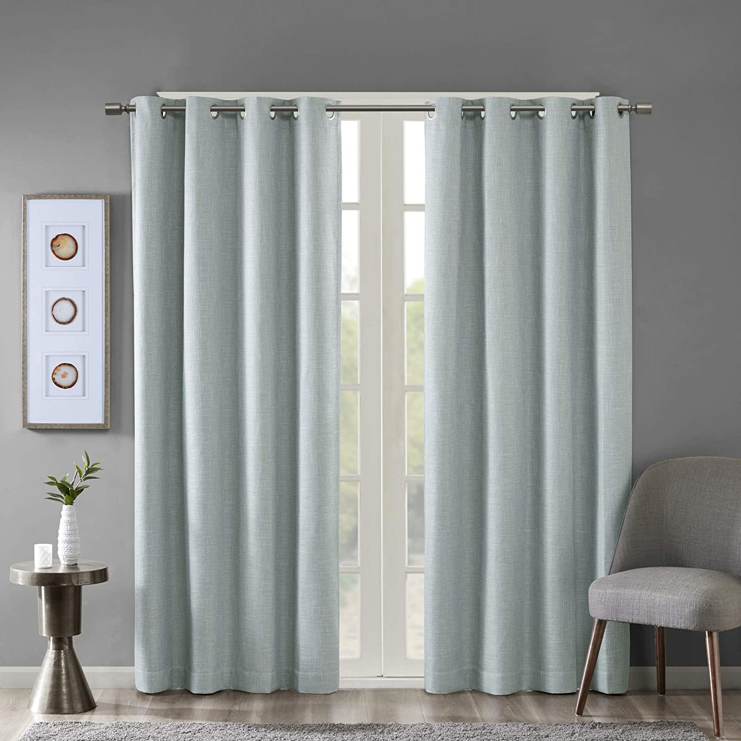 SUN SMART Maya Blackout Curtains Patio Window, Textured Heatherd Print, Grommet Top Living Room Decor Thermal Insulated Light Blocking Drape for Bedroom and Apartments, 50x95, Aqua