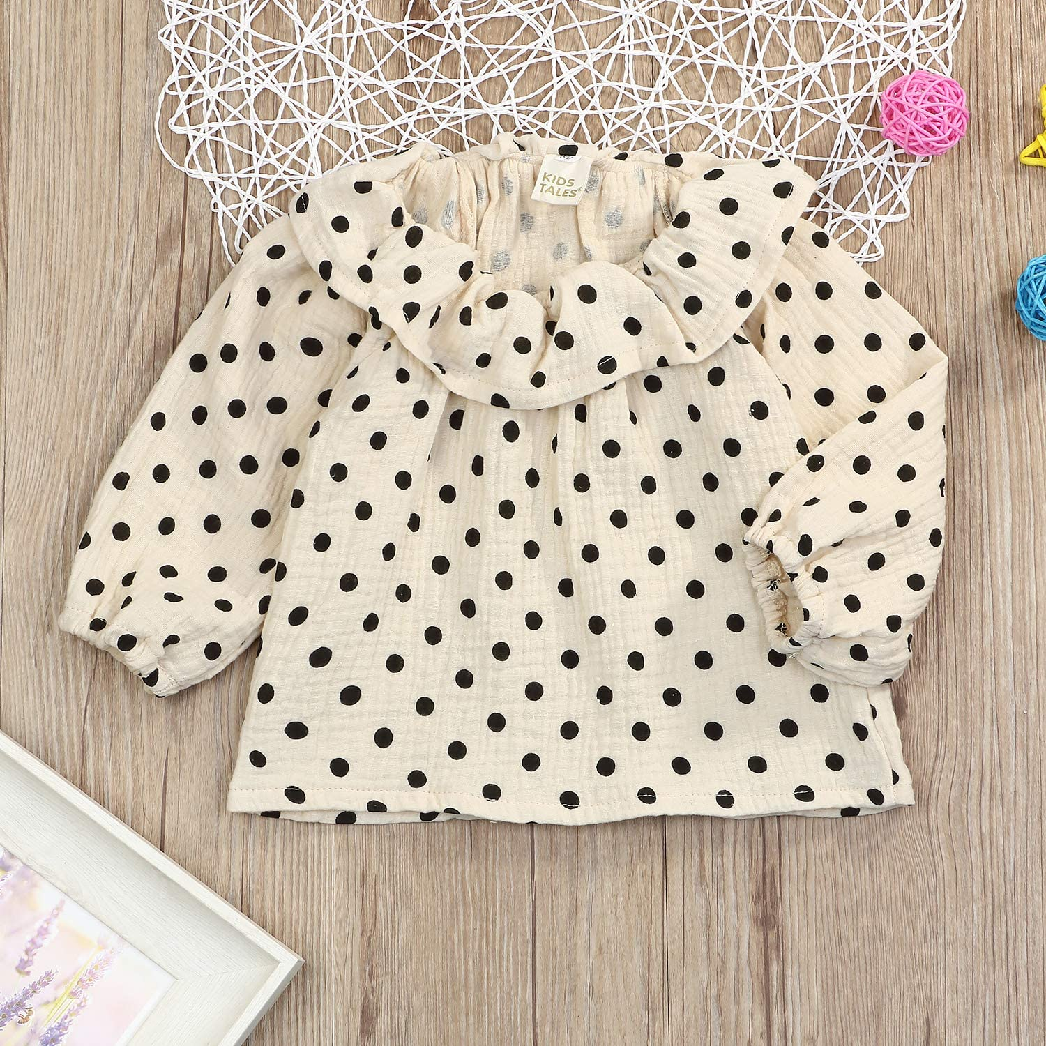 JEELLIGULAR Toddler Little Girls Outfit 1-5 T Long Sleeve Ruffle Collar Blouse Winter Clothes for Kids Baby Girl