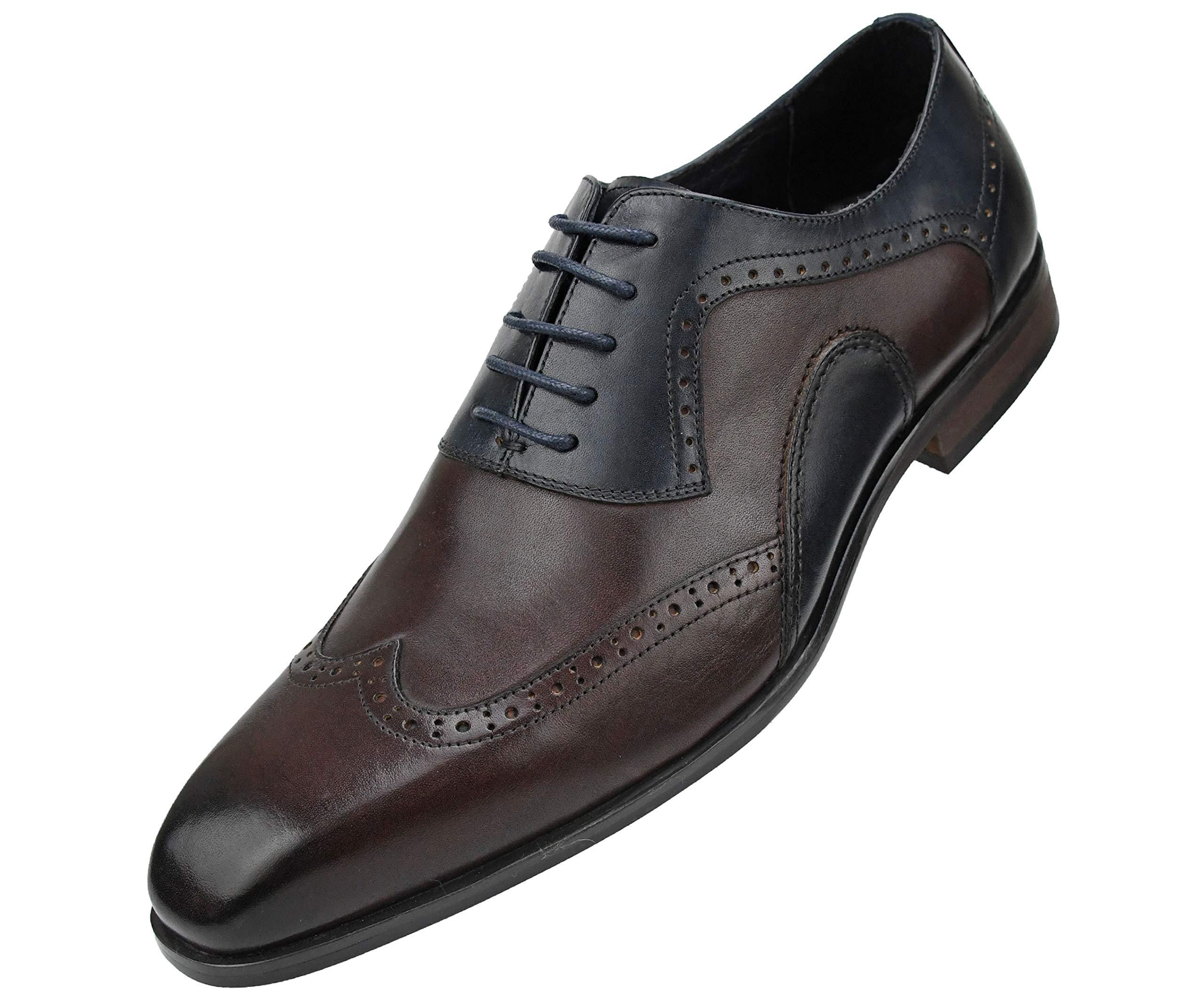 Asher Green Mens Genuine Leather Burnished Oxford Wingtip Dress Shoe, Lace-up Single Monkstrap