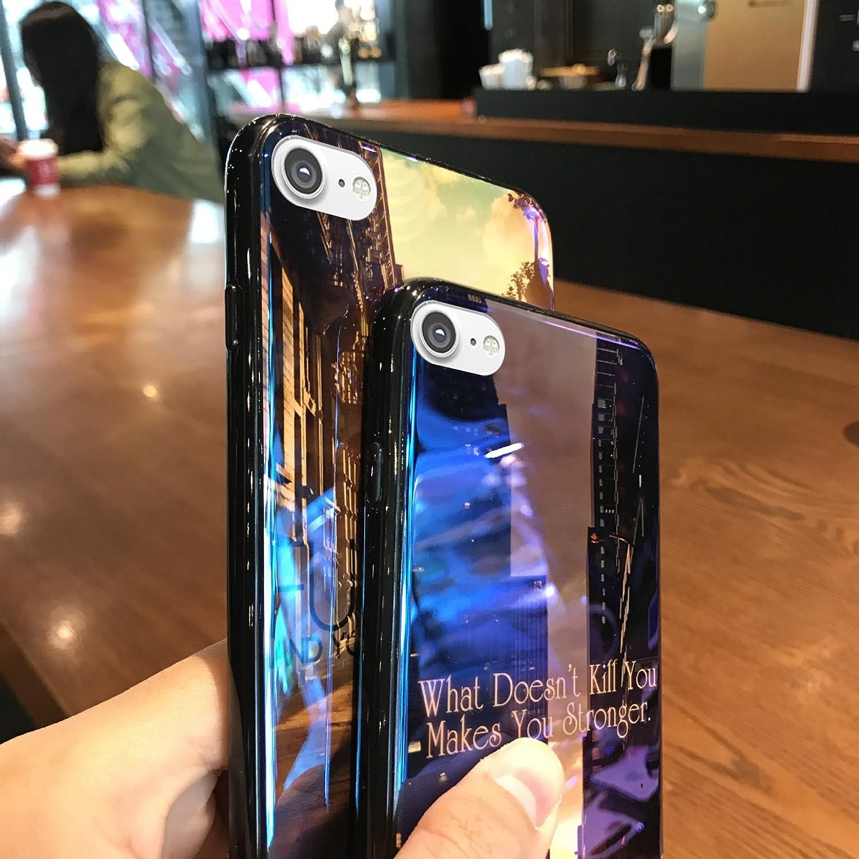 Cover iPhone 8,Cover iPhone 7,ikasus Bling splendente sparkle Crepuscolo paesaggio urbanoe Custodia Morbida TPU Silicone Gel Custodia Case Cover per iPhone 8 iPhone 7,Alba Fuck Off