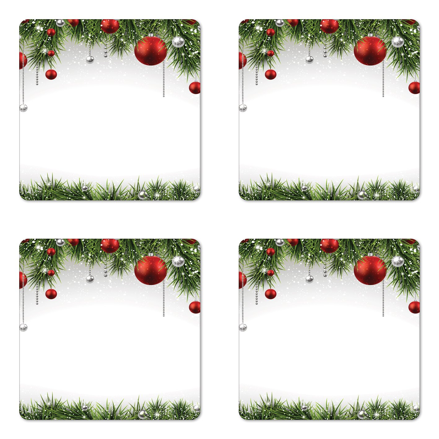 Ambesonne Christmas Coaster Set of Four, Classical
