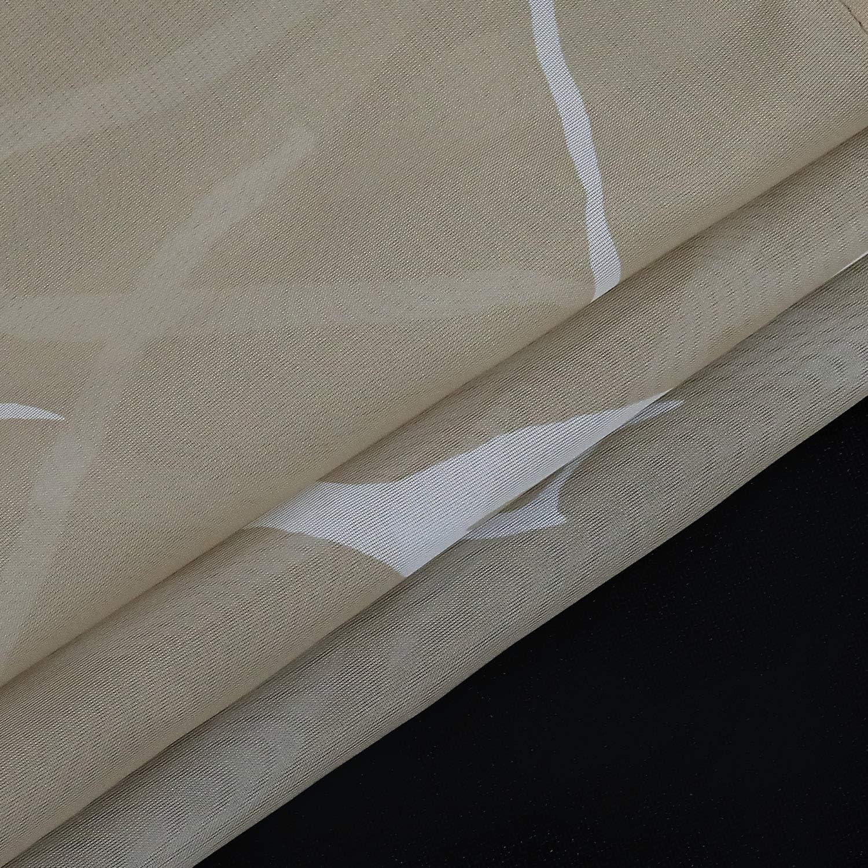 Blanc//Gris ESLIR Rideau Brise-bise Moderne pour Cuisine Transparent avec Passants Polyester HxB 45x90cm