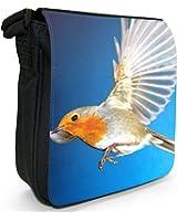 Red Breasted Robin Bird In Flight Small Black Canvas Shoulder Bag / Handbag