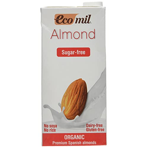 Ecomil Organic Sugar Free Natural Almond Drink, 1 Litre (Pack of 6)