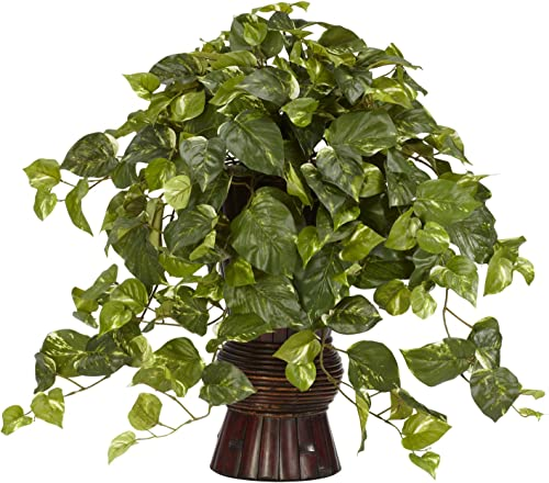 Nearly Natural 6646 Pothos with Bamboo Vase Decorative Silk Plant, Green