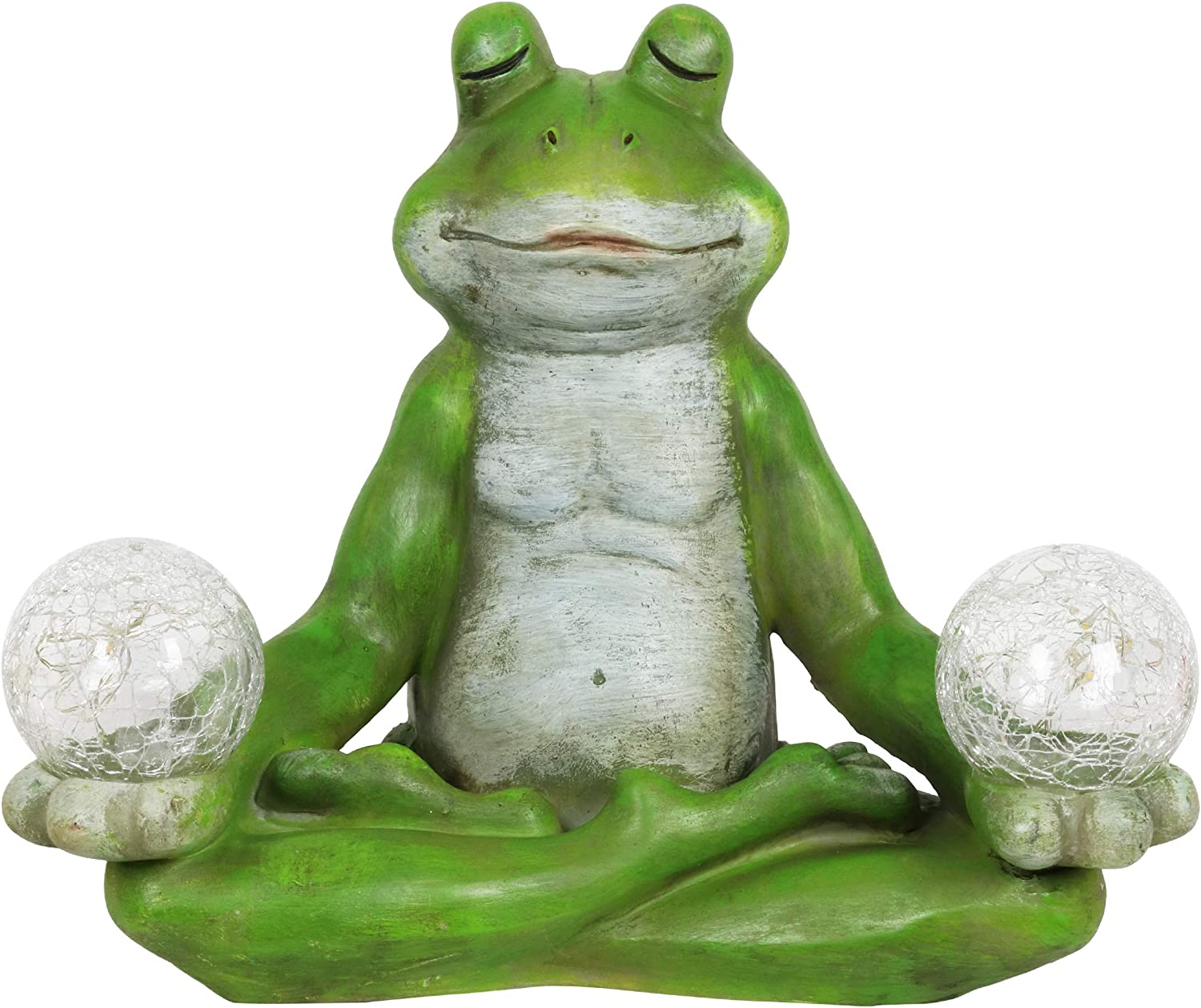 "Exhart Solar Yoga Frog Holding 2 Glass Balls Garden Statue - Hand-Painted Resin Statue of a Green Frog in Cross-Legged Meditation Pose w/Solar LED Lights Glass Orbs, 11"" Wide x 9"" Inches Tall"