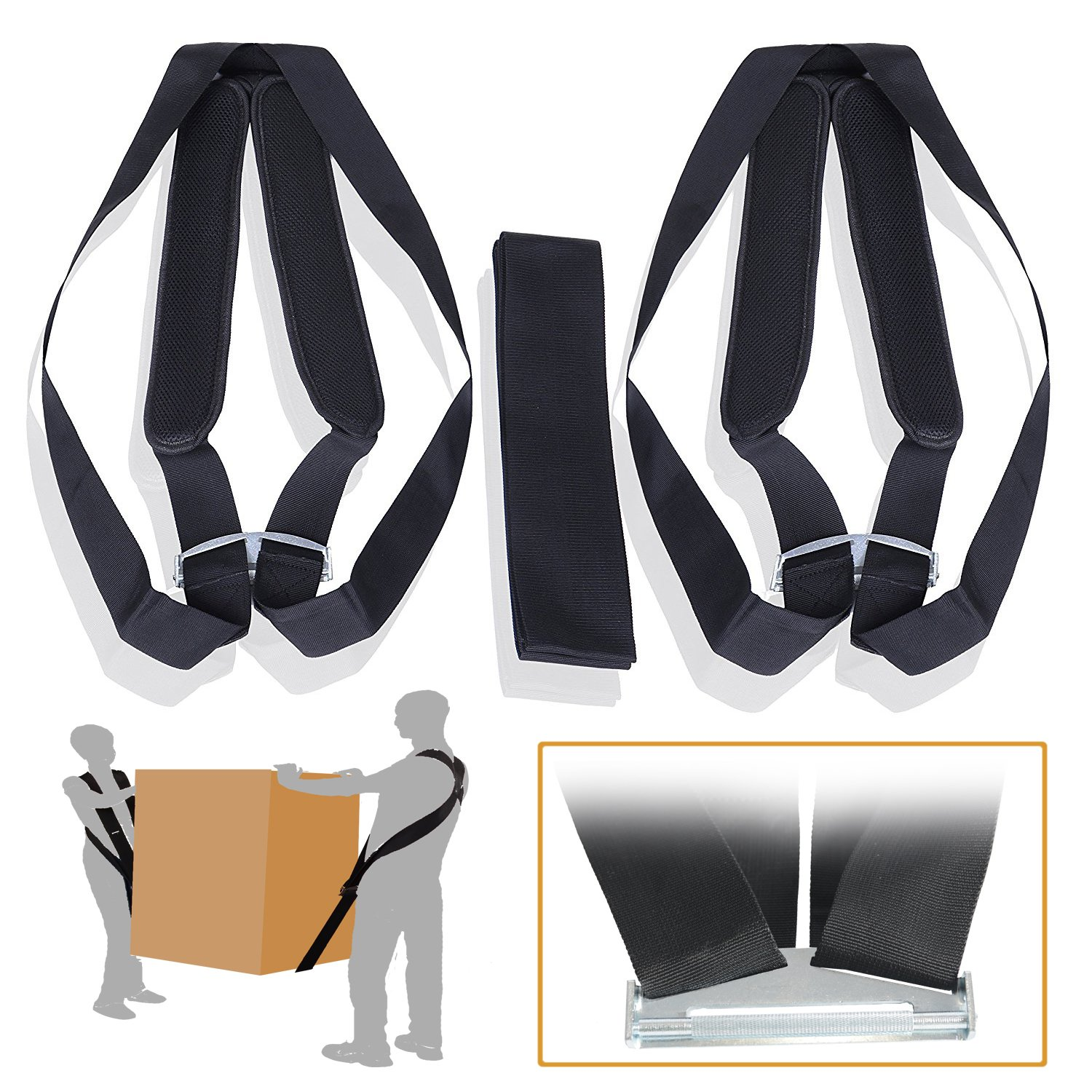 Lifting Straps SET with Shoulder Pads – Weight Carry Harness – 2 Person Dolly Belts Furniture Moving -Weight Lifting Ergonomic Tool for Straight Position and NO Back Pain - Heavy Duty System - ERGOGO ErgogoFree