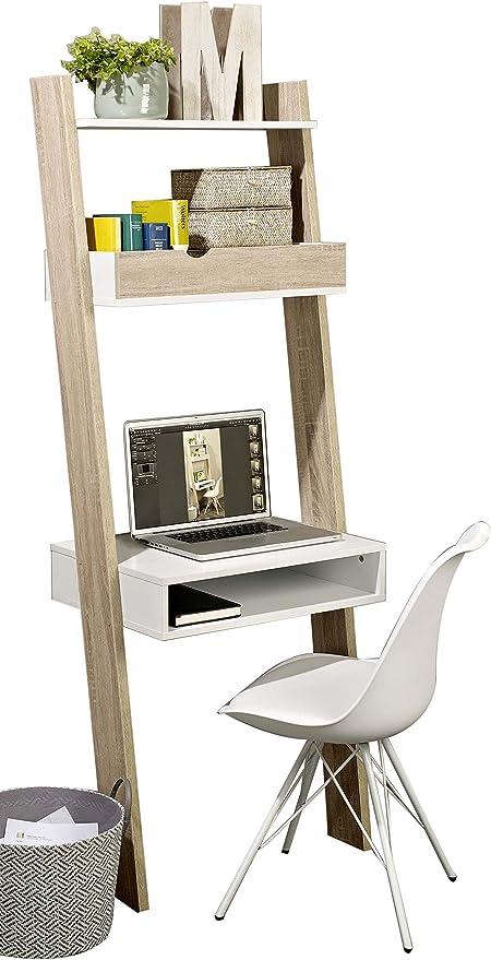 Estantería de pared FRG111-WN con diseño de escalera para almacenamiento con estante, cajón y escritorio, de la marca SoBuy®: Amazon.es: Oficina y papelería