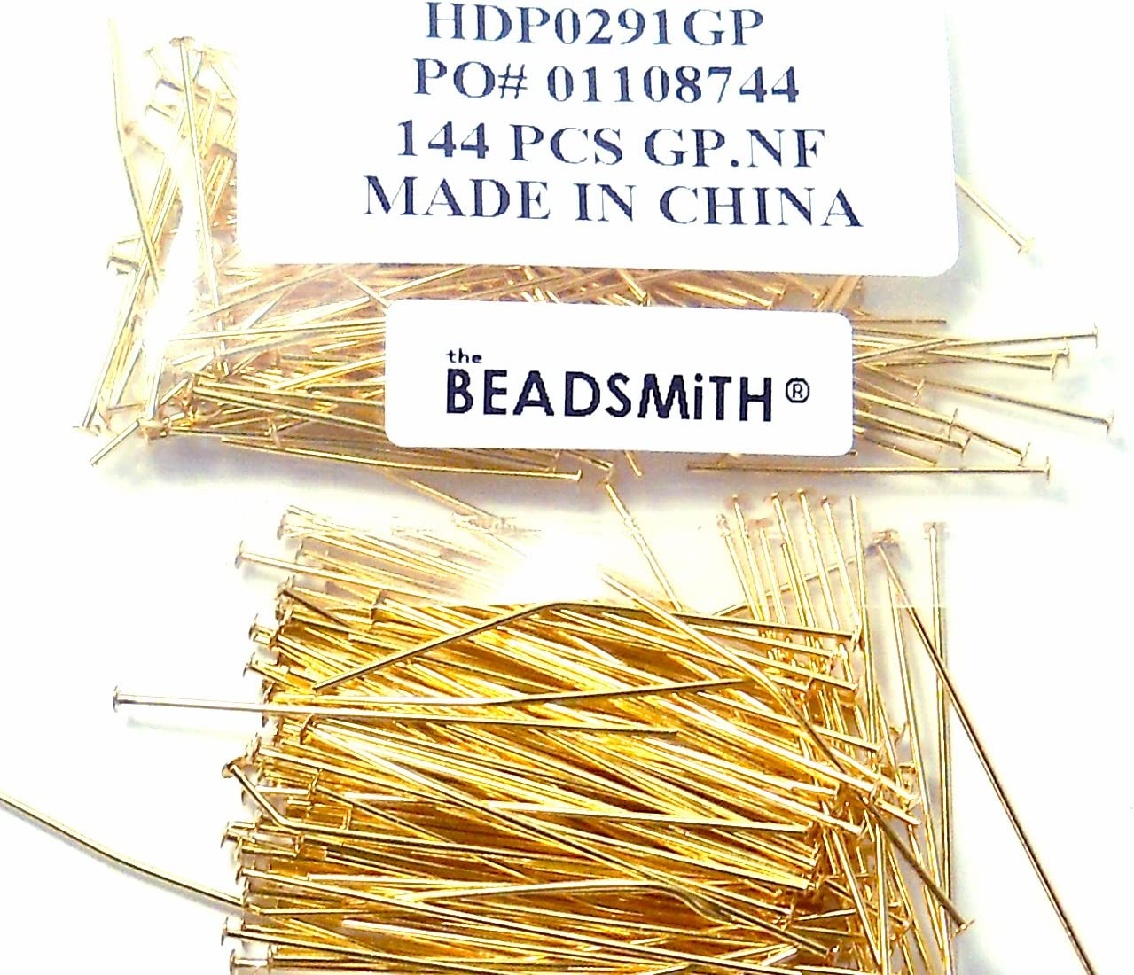 240 Head Pins .020dia X 2 Inch Gold Plated Thin 24 Gauge Wire