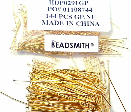 Gold plated head pin 2 inch long 20g thick item ID XMHC00593ABE 100 pcs