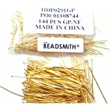 240 Head Pins .020dia X 2 Inch Gold Plating Over Brass Thin 24 Gauge Wire Beadsmith Headpins