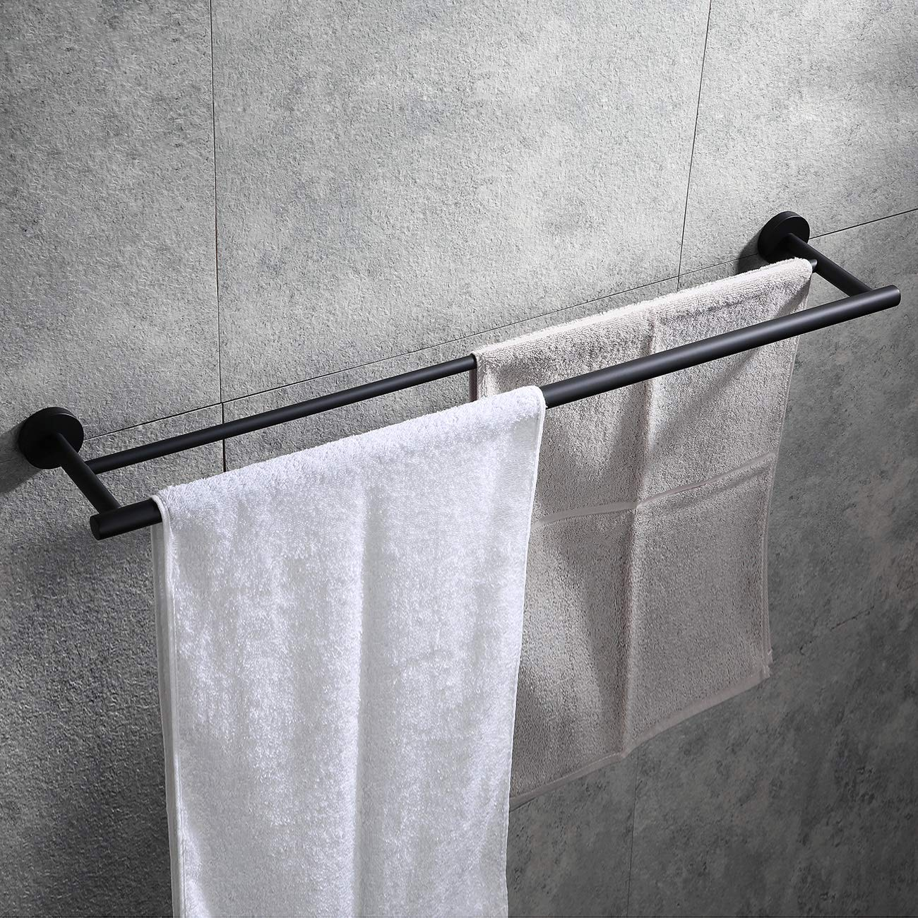 Hoooh Double Bath Towel Bar, 30-Inch Matte Black Stainless Steel Hand Towel Rack for Bathroom, A102L75-BK