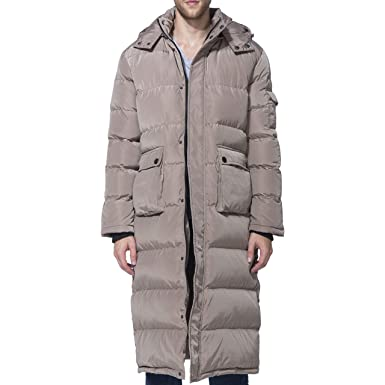 498577e144a PANLTCY Men's Packaged Down Puffer Jacket with Hooded Compressible Long Coat  (Small, Khaki Long