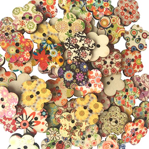 Nouveau 100PCS Papillon en Bois 2 Trous Colorful Boutons Vêtements Sac à coudre Artisanat