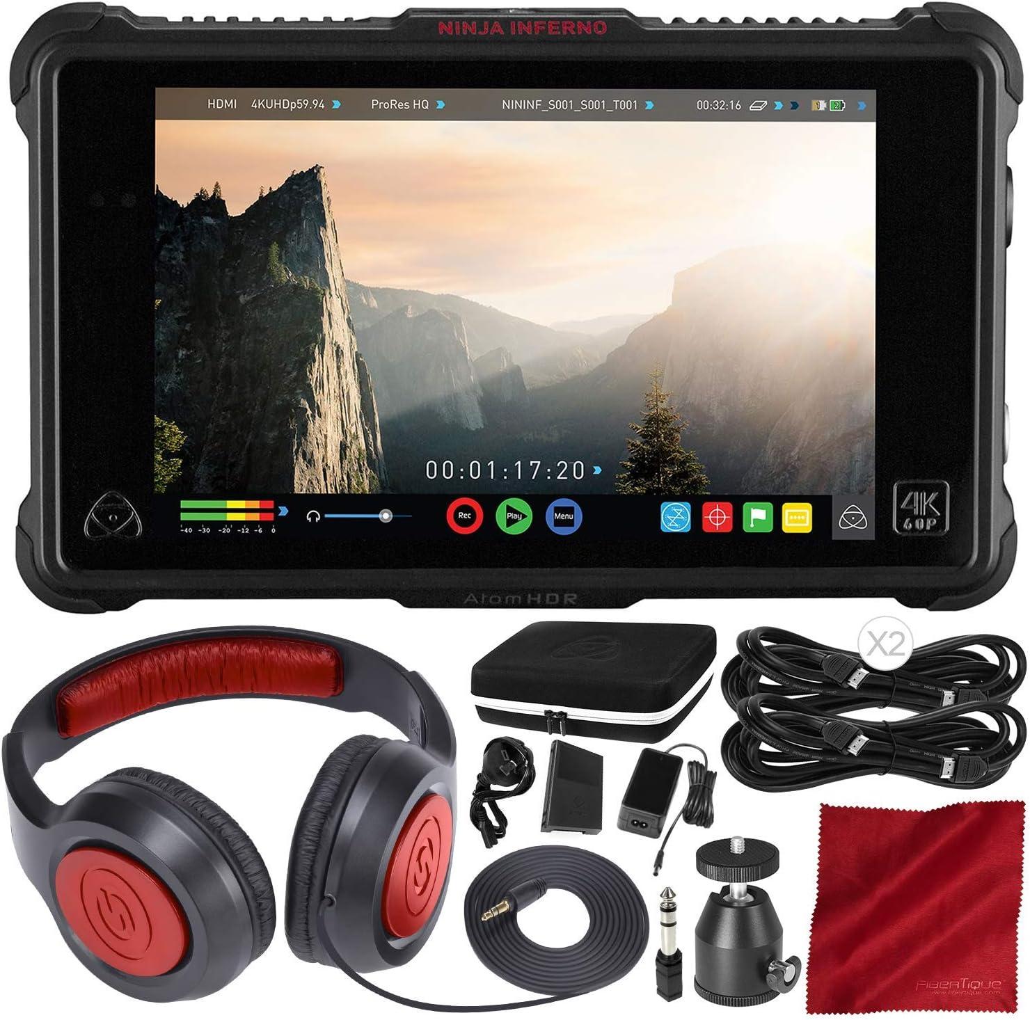 "Atomos Ninja Inferno 7"" 4K HDMI Recording Monitor with Headphones and Accessory Bundle"